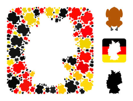 Germany state map stencil mosaic. Hole rounded rectangle collage formed with fried chicken body icons in various sizes, and Germany flag official colors - red, yellow, black. 矢量图像