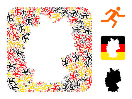 German map hole mosaic. Hole rounded square collage designed of running man icons in variable sizes, and Germany flag official colors - red, yellow, black. 免版税图像 - 164865087