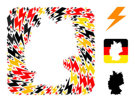 German map subtraction mosaic. Subtraction rounded square collage composed of flash elements in variable sizes, and Germany flag official colors - red, yellow, black.
