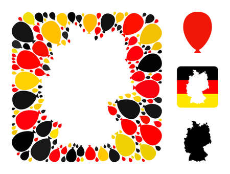 Germany map subtraction mosaic. Subtraction rounded square collage composed with celebration ballon elements in different sizes, and Germany flag official colors - red, yellow, black.
