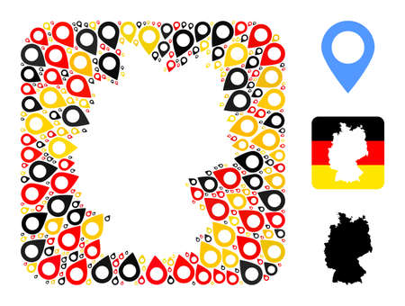 Germany map subtraction mosaic. Subtraction rounded square collage formed of map marker icons in various sizes, and Germany flag official colors - red, yellow, black.