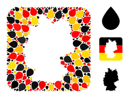Germany map hole mosaic. Subtraction rounded rectangle collage created of drop elements in various sizes, and German flag official colors - red, yellow, black.