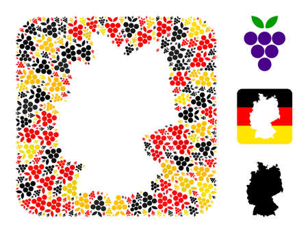 Germany state map hole mosaic. Hole rounded square collage designed with grape berry icons in various sizes, and Germany flag official colors - red, yellow, black. 矢量图像