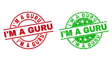 Round IM A GURU watermarks. Flat vector scratched stamp watermarks with IM A GURU phrase inside circle and lines, in red and green colors. Stamp imprints with corroded style.