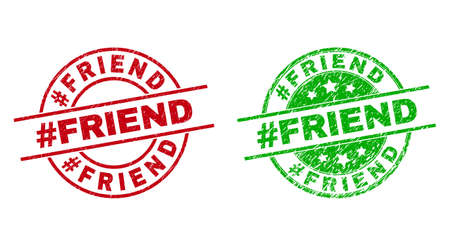 Round #FRIEND badge stamps. Flat vector scratched seal stamps with #FRIEND title inside circle and lines, in red and green colors. Watermarks with corroded style.