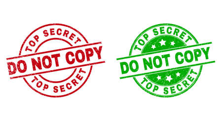 Round TOP SECRET DO NOT COPY stamp badges. Flat vector distress badges with TOP SECRET DO NOT COPY caption inside circle and lines, in red and green colors. Stamp imprints with distress texture.