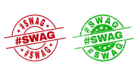 Round #SWAG watermarks. Flat vector textured seals with #SWAG message inside circle and lines, in red and green colors. Watermarks with grunged texture.