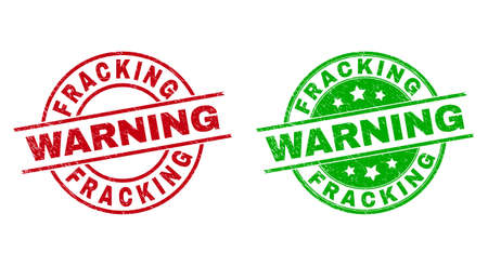 Round FRACKING WARNING stamps. Flat vector distress stamps with FRACKING WARNING title inside circle and lines, in red and green colors. Stamp imprints with distress surface.