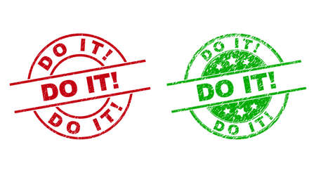 Round DO IT! stamp badges. Flat vector distress seal stamps with DO IT! caption inside circle and lines, in red and green colors. Stamp imprints with corroded style.