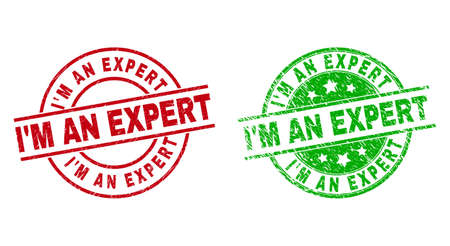 Round IM AN EXPERT stamp badges. Flat vector scratched stamp watermarks with IM AN EXPERT text inside circle and lines, using red and green colors. Watermarks with unclean texture.