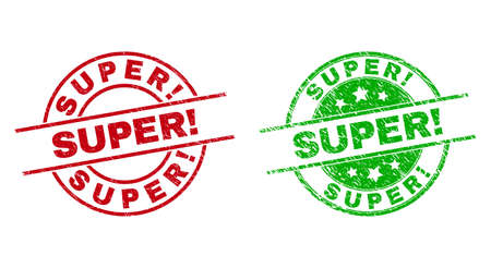 Round SUPER! seal stamps. Flat vector textured stamps with SUPER! caption inside circle and lines, using red and green colors. Rubber imitations with unclean style.