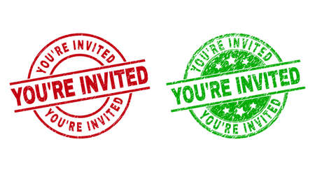 Round YOURE INVITED stamp badges. Flat vector distress badges with YOURE INVITED phrase inside circle and lines, using red and green colors. Stamp imprints with corroded style.