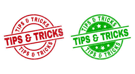 Round TIPS & TRICKS seal stamps. Flat vector textured seal stamps with TIPS & TRICKS phrase inside circle and lines, using red and green colors. Stamp imprints with corroded texture.
