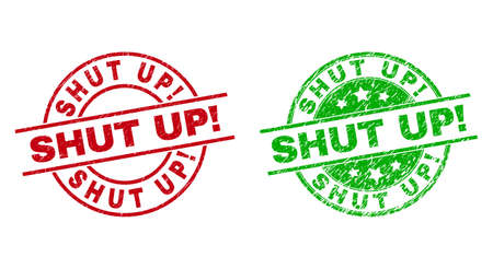 Round SHUT UP! stamp badges. Flat vector distress stamp watermarks with SHUT UP! title inside circle and lines, using red and green colors. Stamp imprints with unclean surface.