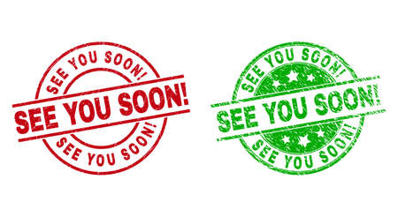 Round SEE YOU SOON! watermarks. Flat vector distress stamp watermarks with SEE YOU SOON! message inside circle and lines, using red and green colors. Watermarks with grunge texture.