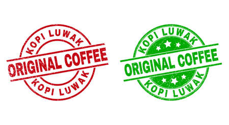 Round KOPI LUWAK ORIGINAL COFFEE stamp badges. Flat vector scratched stamp watermarks with KOPI LUWAK ORIGINAL COFFEE title inside circle and lines, in red and green colors. Vetores