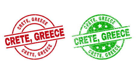 Round CRETE, GREECE seal stamps. Flat vector textured seal stamps with CRETE, GREECE caption inside circle and lines, in red and green colors. Stamp imprints with distress texture.
