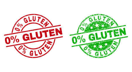 Round 0% GLUTEN stamp badges. Flat vector scratched stamp watermarks with 0% GLUTEN phrase inside circle and lines, in red and green colors. Watermarks with distress surface.