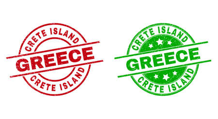 Round CRETE ISLAND GREECE badge stamps. Flat vector grunge stamp watermarks with CRETE ISLAND GREECE message inside circle and lines, using red and green colors. Stamp imprints with grunge style. Illustration