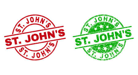 Round ST. JOHNS seal stamps. Flat vector grunge seal stamps with ST. JOHNS title inside circle and lines, in red and green colors. Stamp imprints with scratched style.