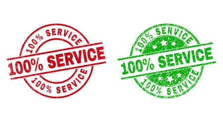 Round 100% SERVICE seal stamps. Flat vector grunge seal stamps with 100% SERVICE title inside circle and lines, using red and green colors. Stamp imprints with unclean surface.