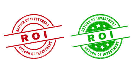 Round RETURN OF INVESTMENT R O I badge stamps. Flat vector grunge stamps with RETURN OF INVESTMENT R O I phrase inside circle and lines, using red and green colors. Watermarks with scratched texture.