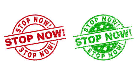 Round STOP NOW! stamps. Flat vector scratched stamps with STOP NOW! title inside circle and lines, in red and green colors. Rubber imitations with scratched style.