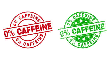 Round 0% CAFFEINE watermarks. Flat vector distress stamp watermarks with 0% CAFFEINE text inside circle and lines, in red and green colors. Watermarks with distress surface.