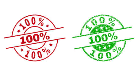 Round 100% watermarks. Flat vector distress stamp watermarks with 100% caption inside circle and lines, using red and green colors. Watermarks with corroded style.