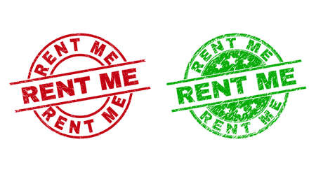 Round RENT ME stamp badges. Flat vector textured stamp watermarks with RENT ME title inside circle and lines, in red and green colors. Stamp imprints with corroded texture.