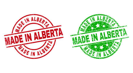 Round MADE IN ALBERTA seal stamps. Flat vector grunge seal stamps with MADE IN ALBERTA text inside circle and lines, in red and green colors. Stamp imprints with distress surface.