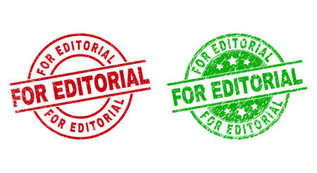 Round FOR EDITORIAL watermarks. Flat vector grunge stamp watermarks with FOR EDITORIAL title inside circle and lines, in red and green colors. Watermarks with distress surface.