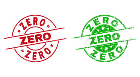 Round ZERO stamp badges. Flat vector distress stamp watermarks with ZERO title inside circle and lines, in red and green colors. Watermarks with corroded texture.