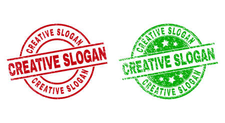 Round CREATIVE SLOGAN badge stamps. Flat vector scratched stamp watermarks with CREATIVE SLOGAN caption inside circle and lines, in red and green colors. Stamp imprints with corroded texture. Ilustração Vetorial