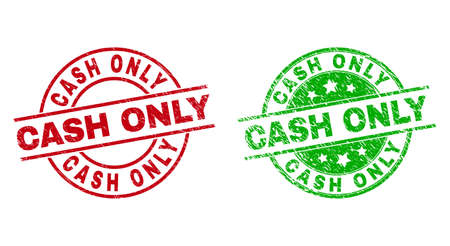 Round CASH ONLY stamp badges. Flat vector scratched stamp watermarks with CASH ONLY title inside circle and lines, in red and green colors. Stamp imprints with unclean style. Vektoros illusztráció