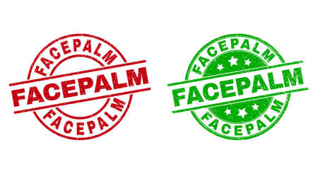 Round FACEPALM stamps. Flat vector textured seal stamps with FACEPALM text inside circle and lines, in red and green colors. Stamp imprints with grunged texture.