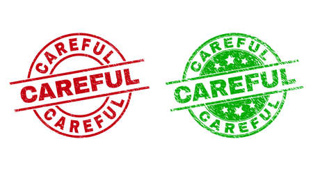 Round CAREFUL stamp badges. Flat vector distress seals with CAREFUL text inside circle and lines, using red and green colors. Stamp imprints with distress texture.
