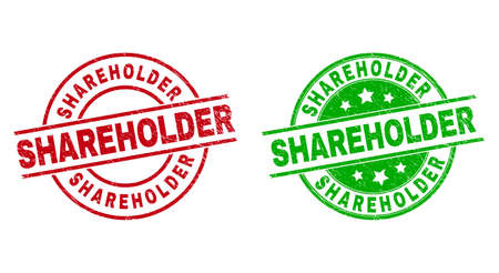 Round SHAREHOLDER stamp badges. Flat vector grunge badges with SHAREHOLDER title inside circle and lines, in red and green colors. Watermarks with grunge surface.
