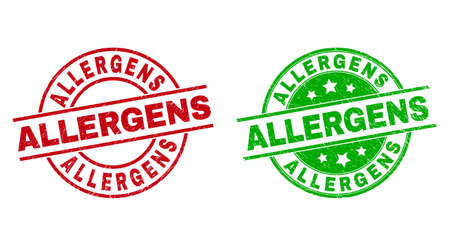 Round ALLERGENS stamps. Flat vector distress seal stamps with ALLERGENS caption inside circle and lines, in red and green colors. Stamp imprints with distress surface.