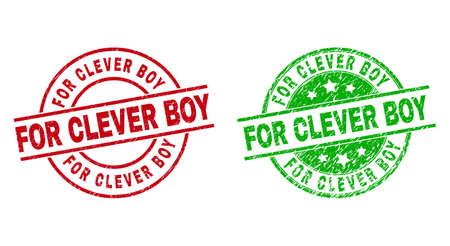 Round FOR CLEVER BOY seal stamps. Flat vector textured seal stamps with FOR CLEVER BOY message inside circle and lines, in red and green colors. Rubber imitations with corroded texture. 矢量图片