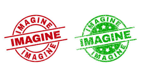 Round IMAGINE seal stamps. Flat vector scratched seal stamps with IMAGINE title inside circle and lines, in red and green colors. Rubber imitations with grunged texture.