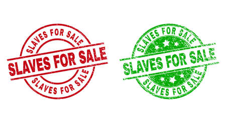 Round SLAVES FOR SALE badge stamps. Flat vector distress stamps with SLAVES FOR SALE message inside circle and lines, in red and green colors. Rubber imitations with scratched style.