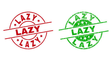 Round LAZY badge stamps. Flat vector grunge stamps with LAZY text inside circle and lines, in red and green colors. Rubber imitations with grunge texture.