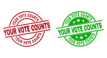 Round YOUR VOTE COUNTS stamp badges. Flat vector textured badges with YOUR VOTE COUNTS title inside circle and lines, using red and green colors. Stamp imprints with scratched texture.