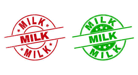 Round MILK stamp badges. Flat vector distress stamp watermarks with MILK text inside circle and lines, in red and green colors. Stamp imprints with grunged style. Vector Illustration