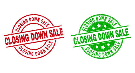 Round CLOSING DOWN SALE seal stamps. Flat vector textured seal stamps with CLOSING DOWN SALE title inside circle and lines, using red and green colors. Watermarks with scratched style.