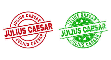 Round JULIUS CAESAR watermarks. Flat vector grunge seals with JULIUS CAESAR message inside circle and lines, in red and green colors. Watermarks with grunge surface.