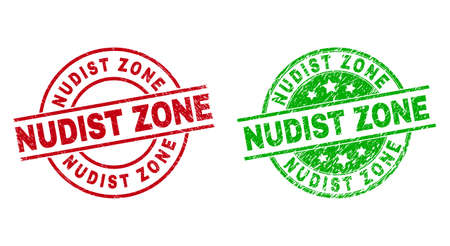 Round NUDIST ZONE seal stamps. Flat vector grunge seal stamps with NUDIST ZONE phrase inside circle and lines, using red and green colors. Rubber imitations with unclean texture.