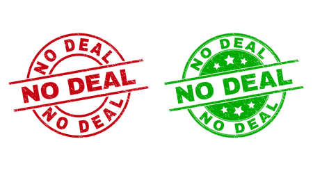 Round NO DEAL stamps. Flat vector scratched stamp watermarks with NO DEAL title inside circle and lines, using red and green colors. Watermarks with unclean texture.