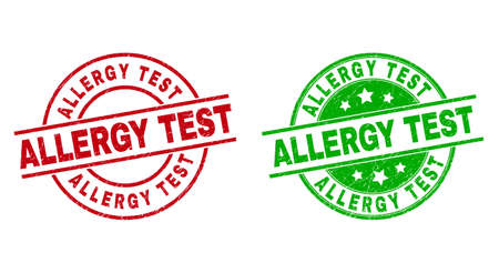 Round ALLERGY TEST stamps. Flat vector scratched seal stamps with ALLERGY TEST message inside circle and lines, in red and green colors. Stamp imprints with scratched style.